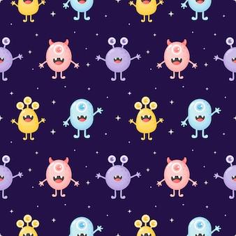 Kinderachtig naadloos patroon leuk grappig monsterbeeldverhaal