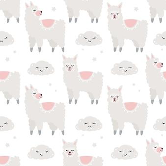 Kinderachtig naadloos patroon met alpaca's en wolken