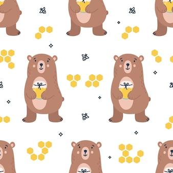 Kinderachtig naadloos patroon met beren en bijen
