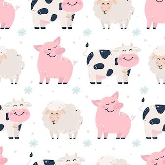 Kinderachtig naadloos patroon met boerderijdieren