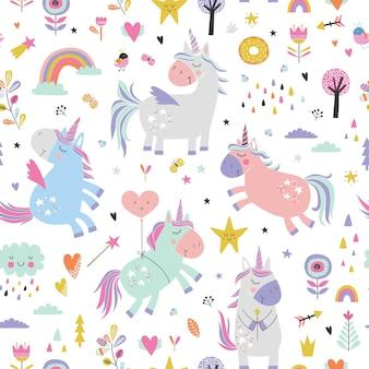 Kinderachtig naadloos patroon met eenhoorns