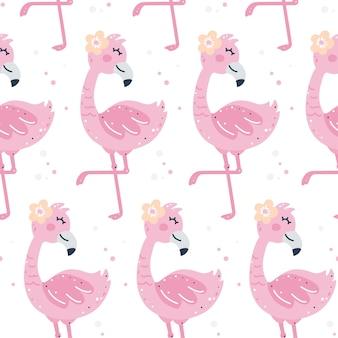 Kinderachtig naadloos patroon met flamingo's