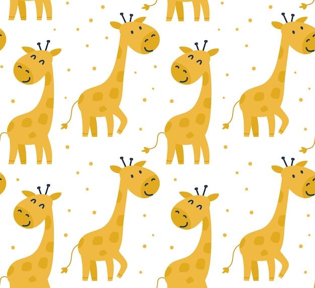 Kinderachtig naadloos patroon met giraffen