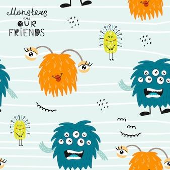 Kinderachtig naadloos patroon met grappige monsters.