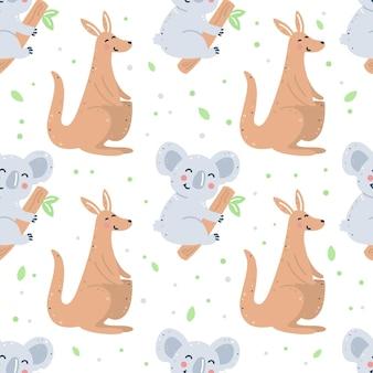 Kinderachtig naadloos patroon met kangoeroe en koala
