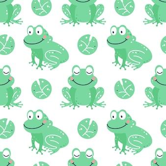 Kinderachtig naadloos patroon met kikkers