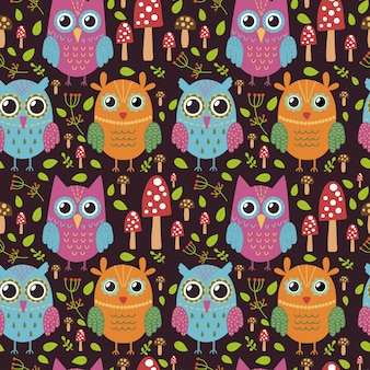 Kinderachtig naadloos patroon met leuke uilen.