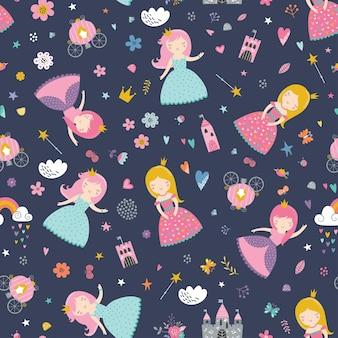 Kinderachtig naadloos patroon met prinses, kasteel, koets in scandinavische stijl.