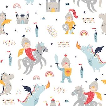 Kinderachtig naadloos patroon met ridder, draak en kasteel.
