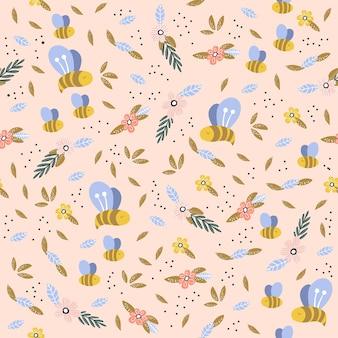 Kinderachtig naadloos patroon met schattig, bijen en bloemen in scandinavische stijl