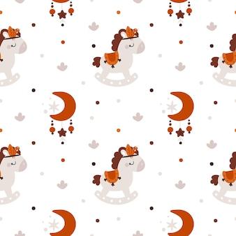 Kinderachtig naadloos patroon met schattig paard en manen in boho-stijl voor pasgeboren meisje of jongen