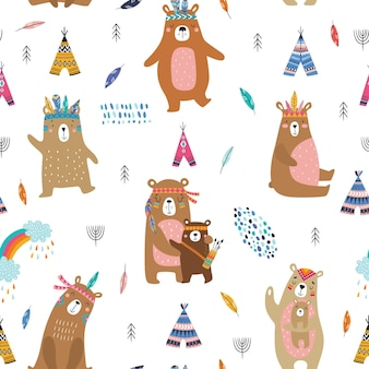 Kinderachtig naadloos patroon met schattige beren in cartoon stijl.