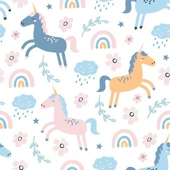 Kinderachtig naadloos patroon met schattige eenhoorn en regenboog.