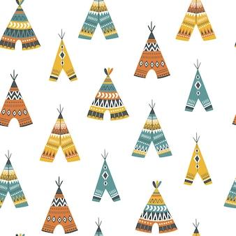 Kinderachtig naadloos patroon met schattige tipi in cartoon stijl.