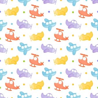 Kinderachtig naadloos patroon met vliegtuigen