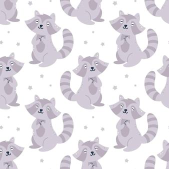 Kinderachtig naadloos patroon met wasberen