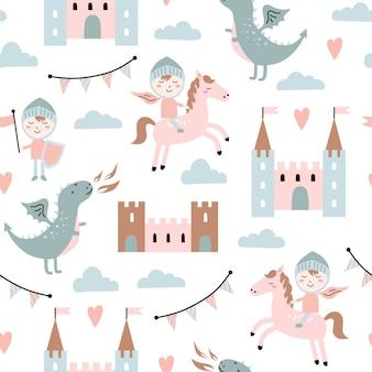 Kinderachtig naadloze patroon met draak, kasteel, ridder in scandinavische stijl.
