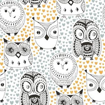 Kinderachtig patroon met grappige uil. mode naadloze achtergrond. vector textieldruk