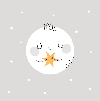 Kinderachtig schattige baby maan prinses. bedtijd, goede nacht afdrukken