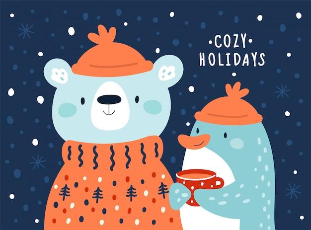 Kinderachtig schattige cartoon dieren. feestelijke illustratie voor gelukkig nieuwjaar 2020, kerstmis