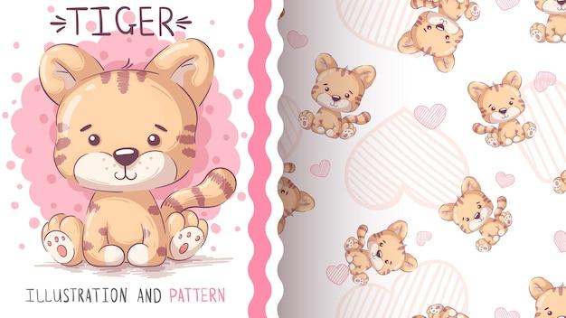 Kinderachtig stripfiguur dierlijke tijger - naadloos patroon
