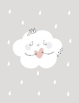 Kinderachtige drukillustratie met leuke mooie wolkenprinses