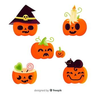 Kinderachtige hand getrokken halloween-pompoeninzameling