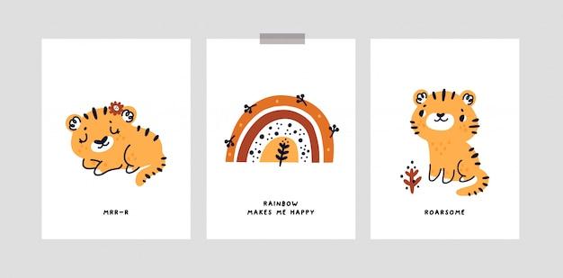 Kinderachtige kaarten met schattige baby tijger, regenboog, kleine dieren