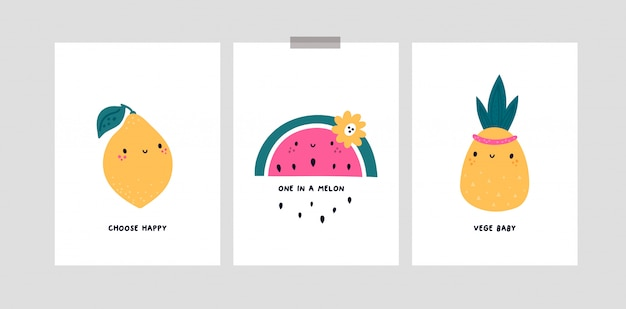 Kinderachtige kaarten met schattige fruit stripfiguren. citroen, watermeloen