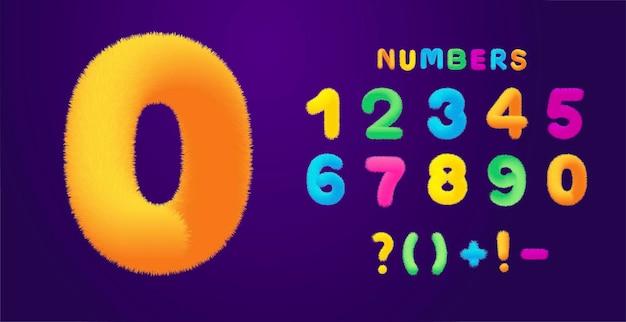 Kinderachtige kleurrijke pluizige nummers decorontwerp vectorillustratie geïsoleerd op donkere achtergrond