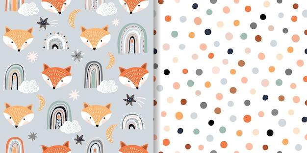 Kinderachtige naadloze patronen met vossen