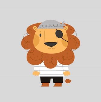 Kinderachtige print met schattige baby leeuw piraat