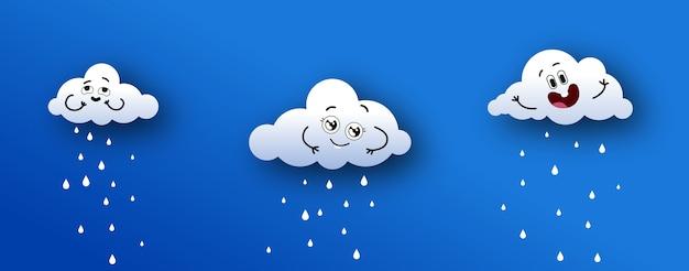 Kinderachtige wolken die naar beneden regenen