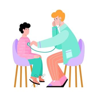 Kinderarts luistert naar hartslag van kind cartoon afbeelding