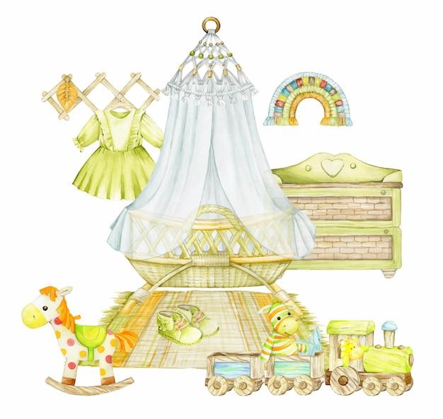 Kinderbed, baldakijn, houten trein, ladekast, kleding, paard, macramé.
