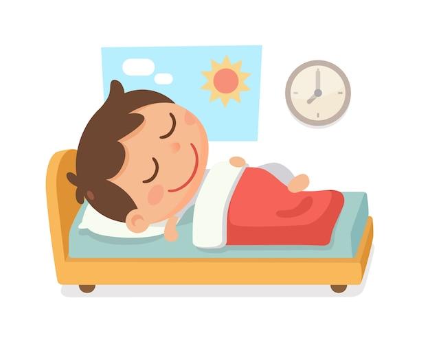 Kinderbedtijd activiteit. een jongen slaapt 's ochtends in het bed en een klok aan de muur.