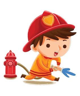 Kinderbrandweerman in schattige karakterstijl