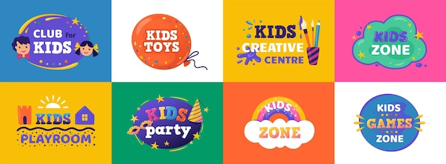 Kinderclub. logo voor speelzone voor kinderen en onderwijskamerclub, grappig bannerconcept voor entertainment voor kinderen. vector kinderen partij gekleurde set borden, embleem voor speeltuin
