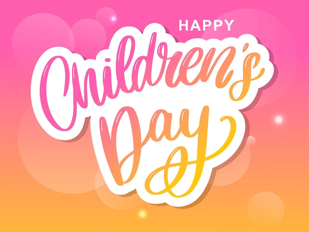 Kinderdag belettering. happy children's day titel. happy children's day inscriptie.