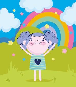 Kinderdag, cartoon gelukkig meisje met regenboogwolken en sterren vectorillustratie