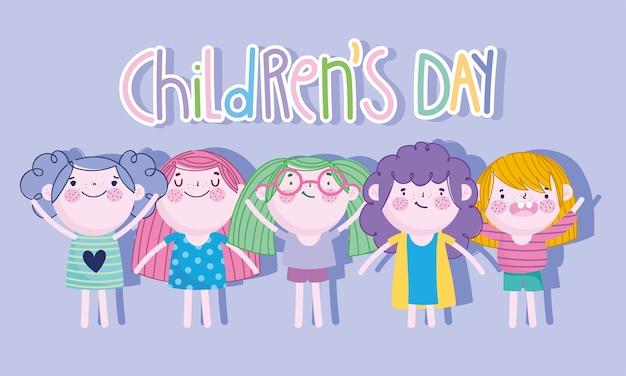 Kinderdag, cartoon groep meisjes en grappige belettering calebratie vectorillustratie