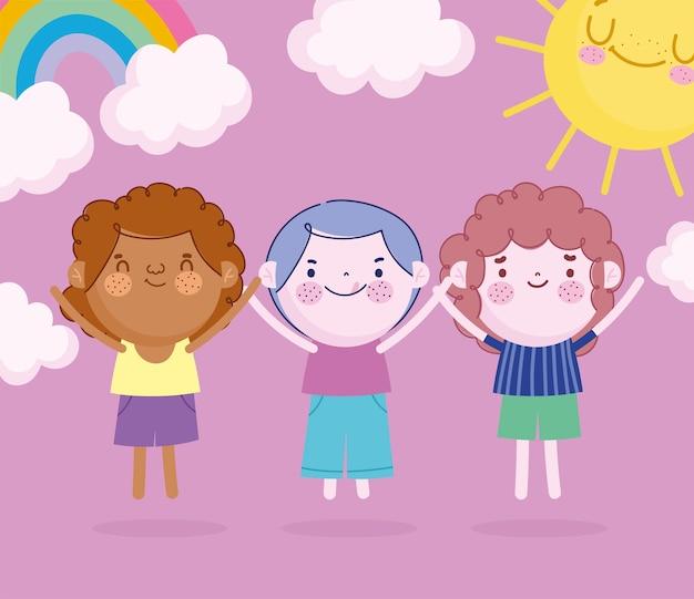 Kinderdag, cartoon kleine jongens regenboog en zon vectorillustratie