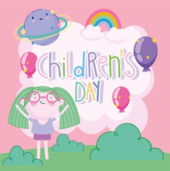Kinderdag, cartoon schattig meisje met groen haar ballonnen regenboog planeet decoratie vectorillustratie