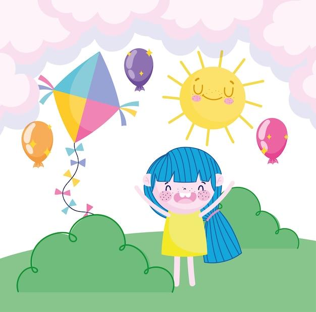 Kinderdag, gelukkig meisje met vlieger ballonnen zon hemel en gras cartoon vectorillustratie