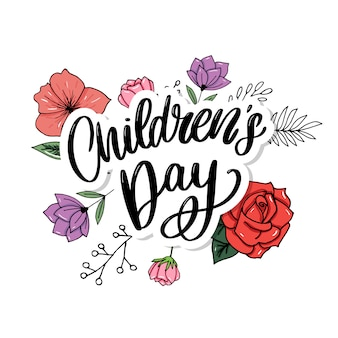 Kinderdag . happy children's day titel. happy children's day inscriptie.