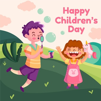 Kinderdag in plat ontwerp