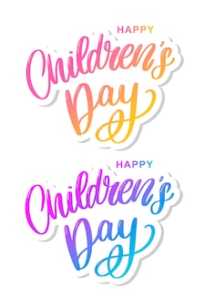 Kinderdag vector belettering. happy children's day tekst