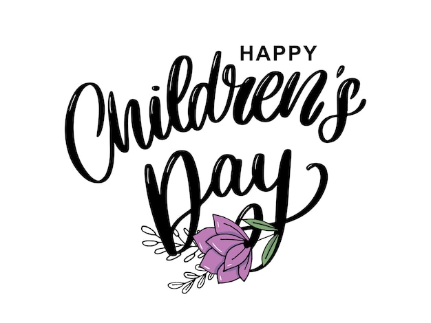Kinderdag vector belettering. happy children's day titel. happy children's day inscriptie.