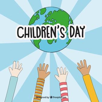 Kinderdagontwerp met handen die uitkijken naar de wereldbol