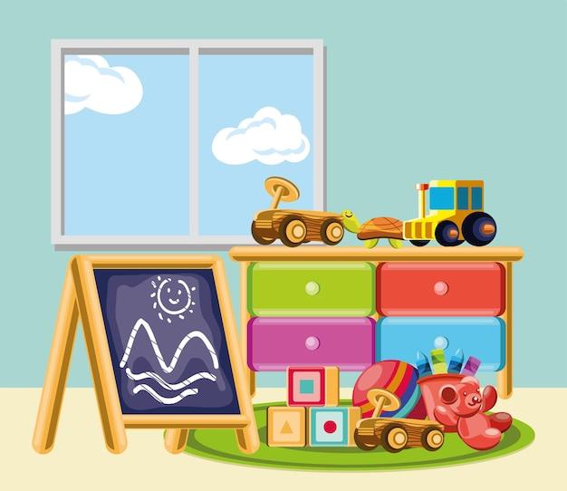 Kinderdagverblijf in de kamer kinderspeelgoed
